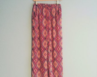 Vintage rayon trousers| multi coloured| elasticated waist and drawstring| brand TobiSize •  UK SMALL