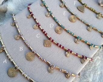 Macrame Necklace Mod.Durga, Goddess necklace, brass pieces, goddess necklace, bohemian necklace, water resistent, nickel free, free shipping