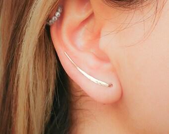 SALE - Gold Earrings- Ear Climber Earrings- Gold Ear Climber- Ear Crawler- Bar Earrings- Gold Bar Earrings- Earclimber- Climbing Earrings