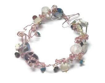 Nickel-free Pink Twisted Metal Bracelet