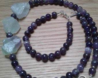 Amethyst and Green Flourite Necklace