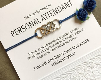 Honor attendant gift, Wedding wish bracelet, THANK YOU for being my personal attendant, Wedding attendant gifts,  Thank you gift,  ZB5