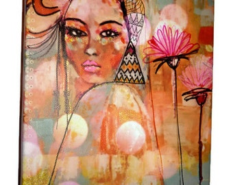 Picture of ethnic woman Reproduction of art-printing on canvas-table figurative art-