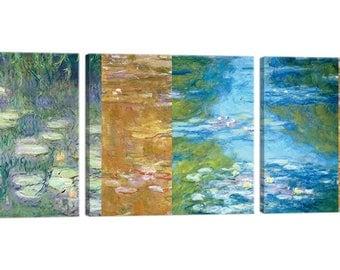 On canvas Claude Monet Monet Tris Deco frame – Waterlilies II