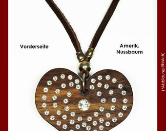 Heart made of wood, with SWAROVSKI chain element