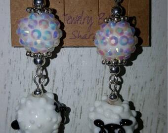 Sugar Bead and Lampwork Sheep Fish Hook Earrings