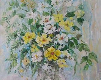 Caroline Barnett (Illsley) Still Life Flowers Acrylic Painting (St Ives Cornwall Artist)