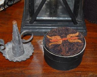 Primitive Punch Needle - Colonial Tulips Keepsake Box