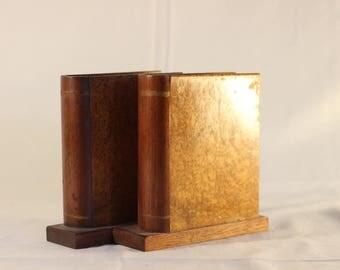 Antique Burled Walnut Book Bookends