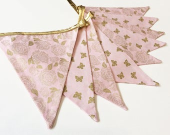 Pink and gold banner, pink and gold wedding decor, pink and gold bridal shower, pink gold party decor, pink gold nursery decor, Nessa Foye
