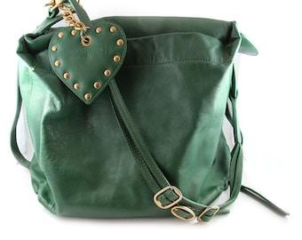 Vintage Vivienne Westwood London Green Leather Shoulder Bag
