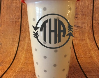 Monogrammed Ceramic Grey Dot Double Wall Coffee or Hot Beverage Cup, Silicone Lid, Custom, Personalized, Coffee Cup
