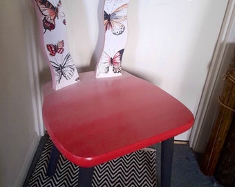Red ombre painted butterfly chair