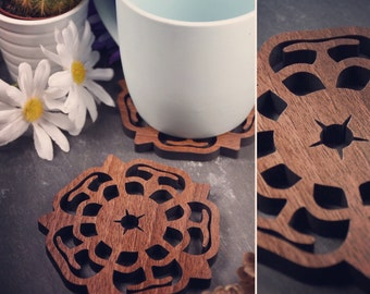 Pack of 4 Yorkshire Rose Coasters