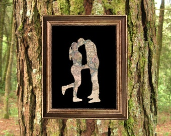 Custom Photo Map Travel Silhouette of Couple