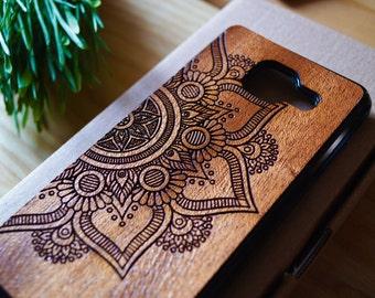 Natural Mahogany Samsung Galaxy A3/A5 (2015/2016/2017) Mandala case | Galaxy A3/A5 wood case | Galaxy A3/A5 wood cover
