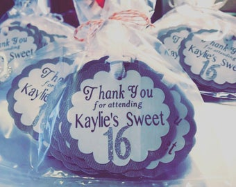 Thank you Tags // Sweet 16 Thank you Tags // Customized Tags // Birthday Thank you Tags // Favor Tags