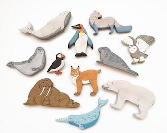 Arctic Animals set (11pcs) Nordic toys North Polar animals toys Waldorf nature table Toddler toy