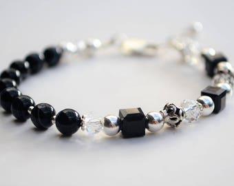Black onyx, swarovski crystal and sterling silver bracelet