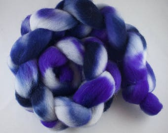 Hand Dyed Spinning fiber top, hand dyed wool, wool roving, Whiteface Woodland, blue, purple, 100g