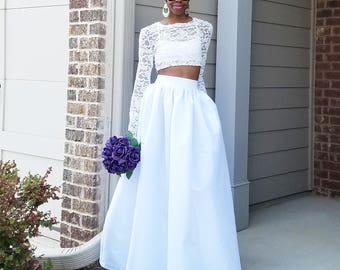 "Satin Taffeta Maxi Ball Skirt (XS - 6XL) WHITE or IVORY ""Brandy"" Any Length, Any Size"