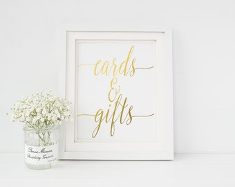 Real Gold Foil Cards & Gifts Print - Wedding Card Table Print - Color Foil Wedding Prints (ID21)