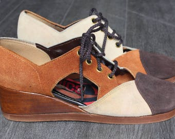 Vintage Mimics Brown and Cream Lace Up Wedges with Side Cut-outs