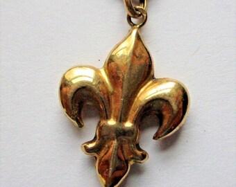 SALE Vintage French Fleur De Lis Necklace 10k Yellow Gold Hollow Pendant Saints Cross Antique Jewelry Charm France