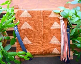 Ready to ship Authentic mudcloth crossbody purse, crossbody bag, rust mudcloth, triangle mudcloth, mudcloth crossbody