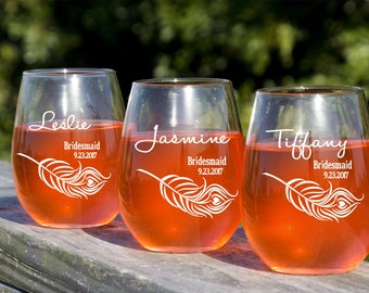 Bridal Party Wine Glasses, Personalized Gift, Custom Etched Stemless Wine Glass, Bridal Party Favors, Bridesmaid Wedding Ideas, Set of 7