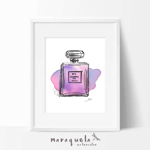 CHANEL nº 5 PARFUM modern Illustration WATERCOLOR pink and violet stain, elegant shades. Chanel Paris original handame, abstract Fashion art