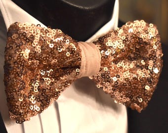 Bow Tie - Sequin - Rose Gold - Handmade -Pre Tied - Wedding - Custom Design - Mens Wear - Necktie - Neckwear - Neck Apparel - Royal Rose