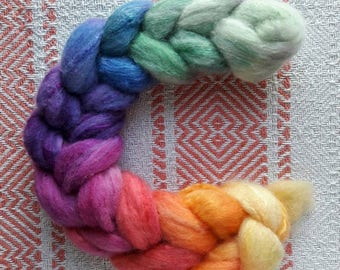 Spinning fiber - Polwarth/silk combed top - 50gr - Rainbow gradient