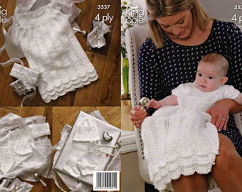 King Cole Knitting Pattern 3537~Christening Robe, Bolero Cardigan, Bootees & Hat~4ply~14-18""