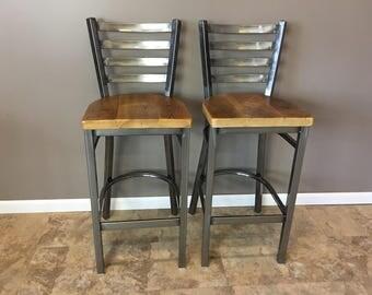 Reclaimed Bar Stool  Set of 2   In Gun Metal Gray Metal Finish   Ladder Back Metal   Restaurant Grade -30 Inch High Barstool