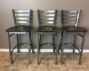 Reclaimed Bar Stool| Set of 3 | In Gun Metal Gray Metal Finish | Ladder Back Metal | Restaurant Grade -30 Inch High Barstool