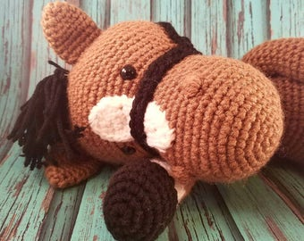 Horse lovey etsy crochet horse farm themed nursery horse lovey horse stuffed animal horse stuffie negle Choice Image