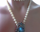 Vintage Silver, Blue & AB Aurora Borealis Rhinestone Pendant Brooch worn with Faux Pearl Necklace included
