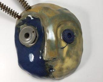 "Steampunk Ceramic Mask, ""Louie"", Steampunk Art, Junk Art, Whimsical Art"