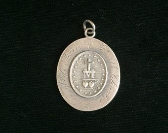 antique french enfants de marie engraved nun medal sacred heart of jesus and marie