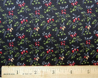 Calico Fabric Vintage Quilting Black Red Floral VIP Cranston