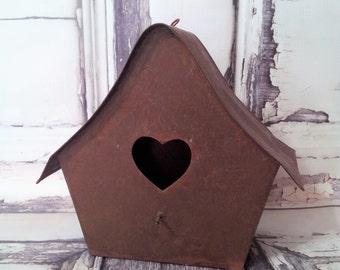 Shabby Chic Rustic Tin Metal Hanging Birdhouse w/Heart Cutout