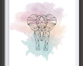 Elephant geometric watercolor- watercolor geometric - pastel colors