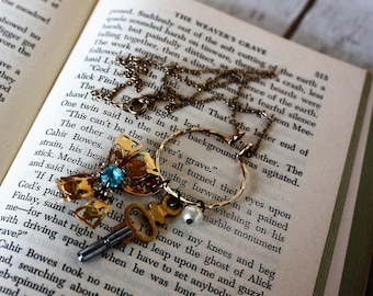 Bow tie and  pocket watch key vintage charm necklace