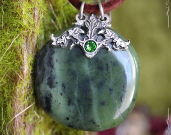 Canadian green jade pendant, wisdom and serenity gemstone pendant, pagan pendant, pagan jewelry
