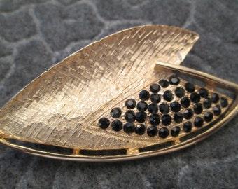 Stunning Gold & Shimmering Black Rhinestone Brooch/Pin>> Vintage 1960's, new old stock