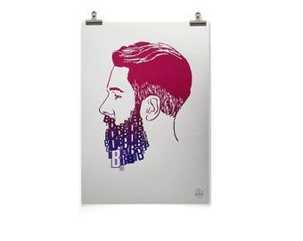 BEARD OF B's, A3, Hand Pulled, Screen Print, White, Paper, Wall Art, Split Fountain, Letraset, Letterpress