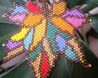Colorful leaf brooch or necklace peyote miyuki delica