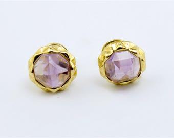 50% off until March 11th - Amethyst Octagone Stud Earrings