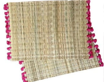 Moroccan placemats with tassels - set of 2 FUCHSIA